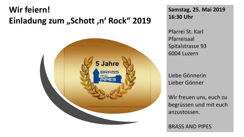 Einladung Schott 'n' Rock 2019 - 5 Jahre BRASS AND PIPES